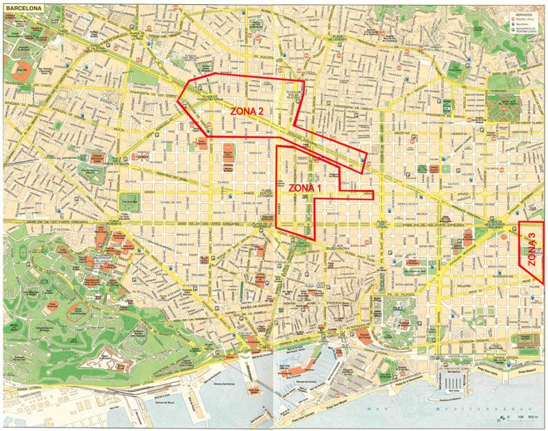 mapa zona de negocios en Barcelona